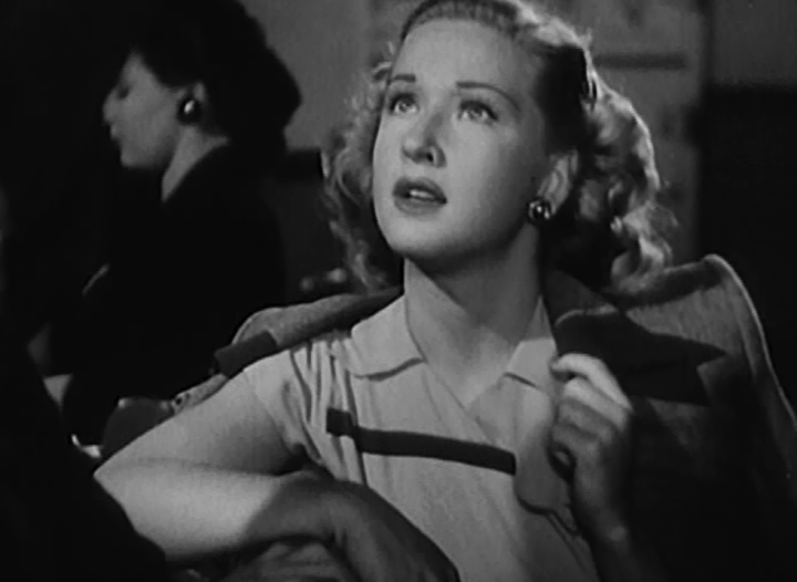 Bonita Granville as Dorothy Larson, who is visiting Hollywood from Minneapolis in search of her fiance (Screen capture by Lindsey for TMP)