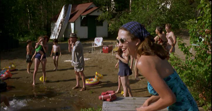 Pearl laughs when nude hippies invade the camp's beach, while the rest of the campers react in shock and horror. (Screen capture by Lindsey for TMP)