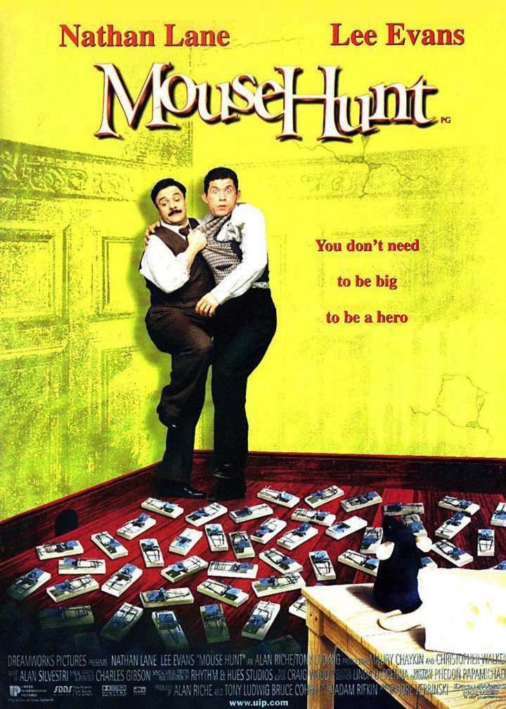 One of the poster designs for Mousehunt highlights a scene where the brothers get attacked by their own traps. (Image: moovidadb)