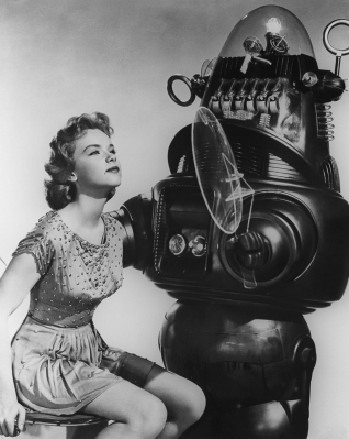 Anne Francis and her Forbidden Planet robot friend (Image: Listal)
