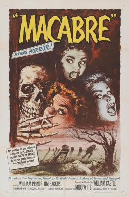 The poster for Macabre features the life insurance policy gimmick. (Image: posters.grindhouse.com)