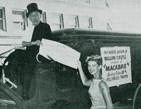 William Castle heads to the Hollywood premiere of his film in a hearse. (Image via Greenbriar Picture Shows)