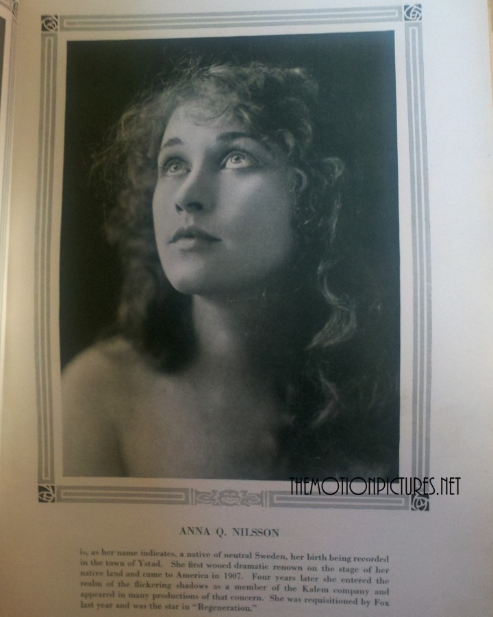 """Anna Q. Nilssen's page from """"Photoplayers In This Issue."""" From my collection; Photographed for TMP"""