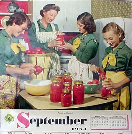 September 1954 Girl Scouts calendar (via scouts.elysiumgates.com)