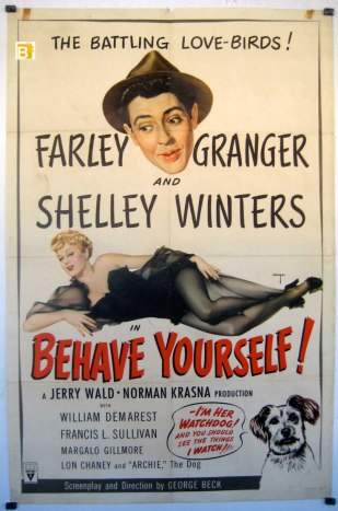 The original poster art for Behave Yourself! was illustrated by Vargas, a noted pin-up artist. (Image via benitomovieposter.com)
