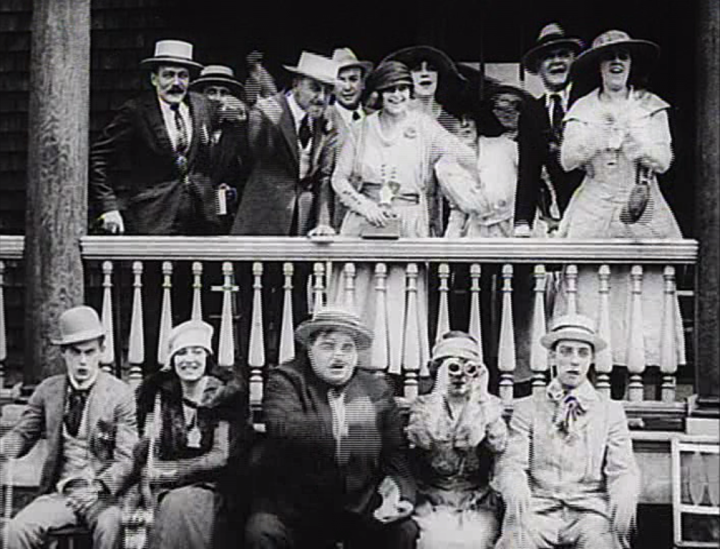 Keaton, Arbuckle and the gang watch a horse race. (Screen capture by Lindsey for TMP)