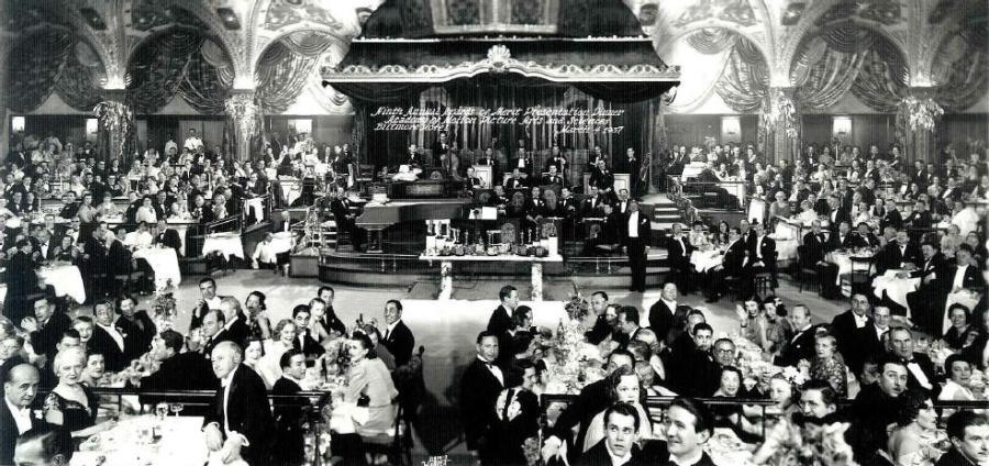 The 9th Academy Awards, shown in this photo, were also held at the Biltmore. Image courtesy of glamamor.com