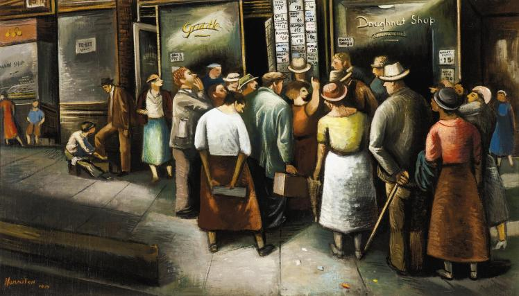 "Abraham Harriton's 1937 painting ""6th Avenue Unemployment Agency,"" courtesy of The Cummer Museum of Art and Gardens"