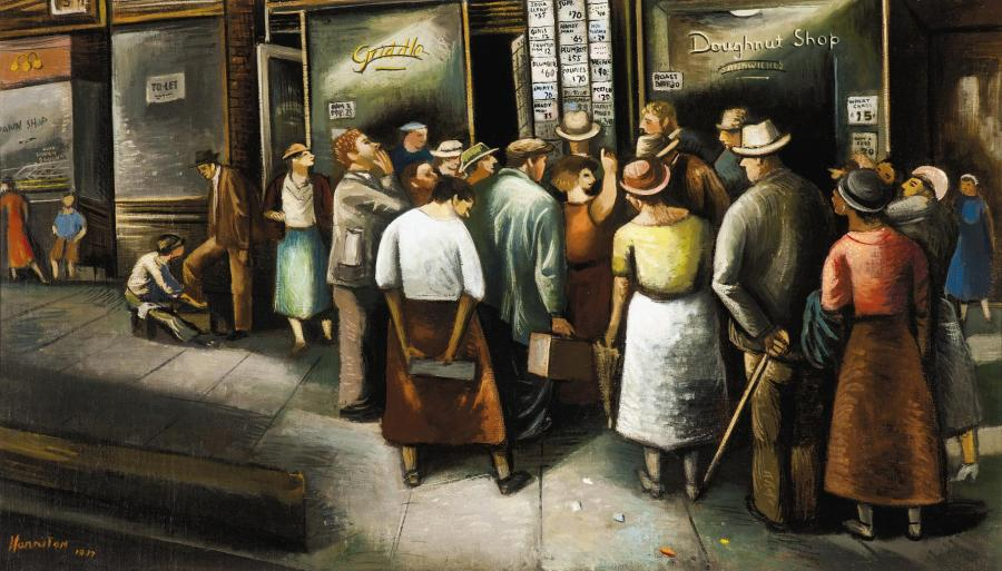 """Abraham Harriton's 1937 painting """"6th Avenue Unemployment Agency,"""" courtesy of The Cummer Museum of Art and Gardens"""