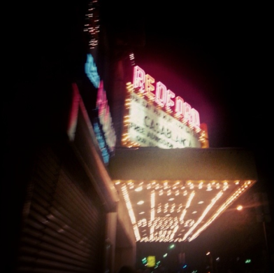 Obligatory marquee photograph, shaky because the people walking behind us were incredibly eager to mow us down and get to the door first. I couldn't stop walking without being trampled, haha.