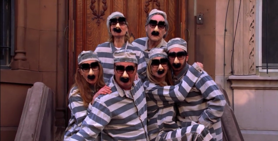 "Ira's idea of a good holiday card theme: ""jailbirds"" (Screen capture by Lindsey for TMP)"
