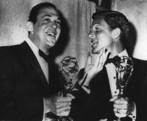 """Jerry Paris with Dick Van Dyke at the 1964 Emmy Awards, where Jerry won for """"Outstanding Directorial Achievement in a Comedy"""" (Image via always-fair-weather.tumblr.com)"""