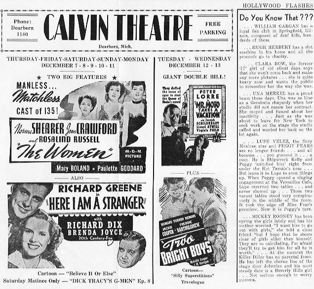 A 1939 Calvin Theater program (Image via Jalopy Journal)