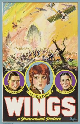 A beautifully illustrated poster for Wings highlights a dramatic battle scene, as well as the film's stars. (Image via Doctor Macro's High Quality Movie Scans)