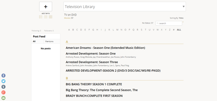 My Television Library list on libib.com, after scanning titles in through the Android app. (Screen capture by Lindsey for TMP)