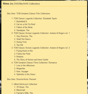 A catalog on Listography can include multiple layers of lists, such as this list from my DVD collection of titles included in boxed sets. However, a catalog of greater detail would be better-suited for a different tool. (Screen capture by Lindsey for TMP)