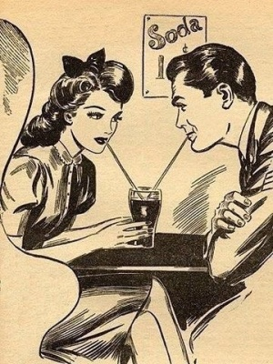 Give me adorable couples sharing beverages or give me death! ...Okay, that was a little overdramatic. But I love romantic films. (Image via Pinterest)