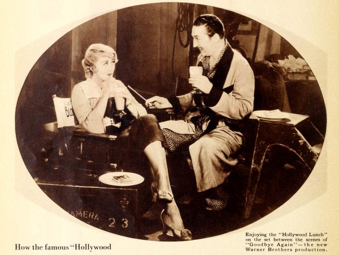 Joan Blondell and Warren William take a break on set. (Photoplay Magazine via Archive.org/Screen capture by Lindsey for TMP)