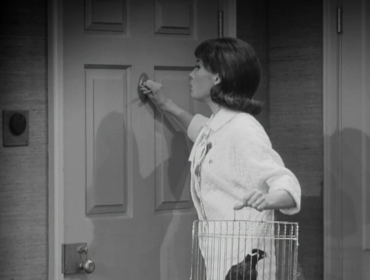 "Laura is afraid to even answer the door, being home alone in the scary town of New Rochelle, in The Dick Van Dyke Show's ""Long Night's Journey Into Day"" episode. (Screen capture by Lindsey for TMP)"