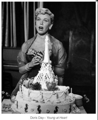 Doris Day and a cake, for 1954's Young at Heart. She sold cakes before she shared the screen with them! (Image via Pinterest)