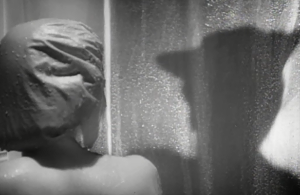 A devilish shadow lurks on the other side of the shower curtain. (Screen capture by Lindsey for TMP)