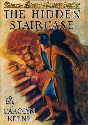 The cover of the 1930 edition of the book shows fashionable Nancy exploring the staircase on her own. (Image via nancydrew.wikia.com)