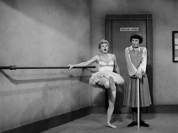 Lucy attempts to learn a new craft by practicing ballet with Madame Lamond (Mary Wickes). (Image via Obvious Mag)