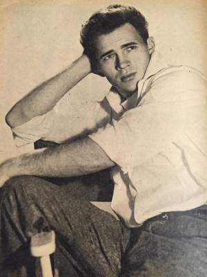 "Wes Bryan, the man Hollywood wanted to make ""the next James Dean"" (Photo from Movie World July 1958 issue/My collection)"