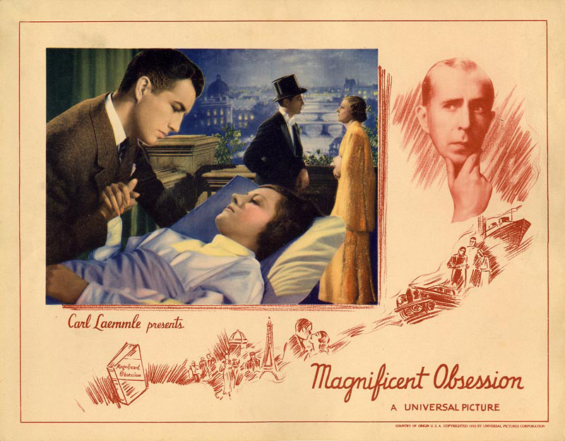 In Magnificent Obsession, Taylor stars opposite Irene Dunne in a story that mirrors his own parents' experience. (Image via Doctor Macro)