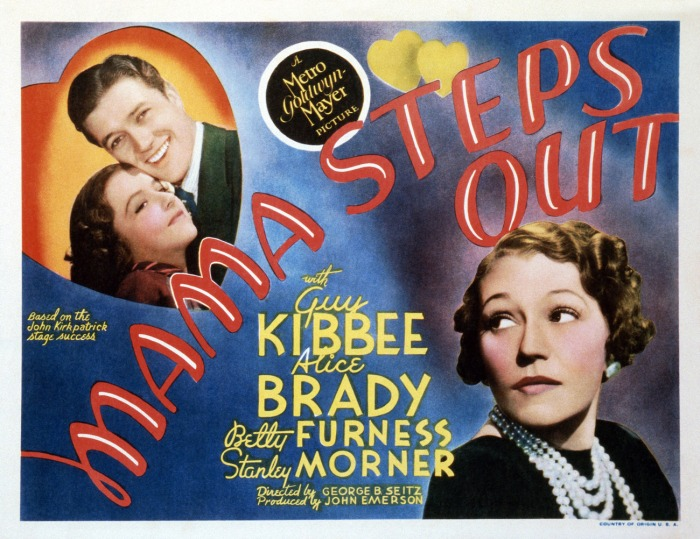 MAMA STEPS OUT, top left: Betty Furness, Dennis Morgan; bottom right: Alice Brady, 1937